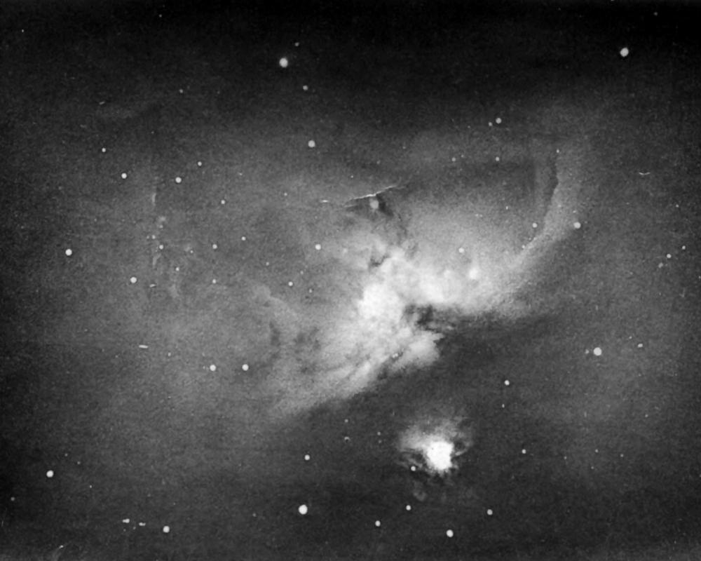 An 1883 photograph of the Orion Nebula, the first to show that a long exposure could record stars and nebulae invisible to the human eye.